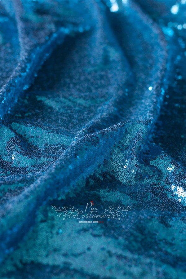 Dark Blue Sequin Fabric Table Cloth
