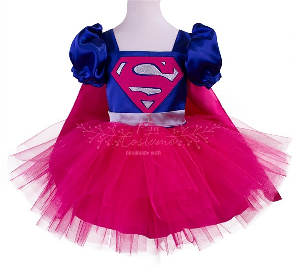 Pan Costume Super Hero Dc Girl Kostümü Pembe Etekli