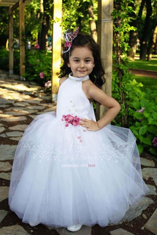 White Love Backless Flower Girl Gown