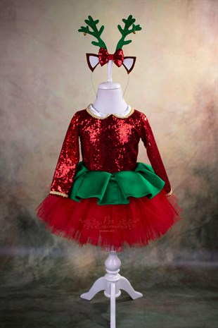 Deer Theme Holiday Tutu Dress
