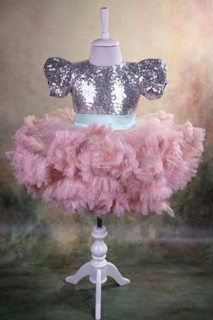 Silver Sequin Fluffy Tutu Dress