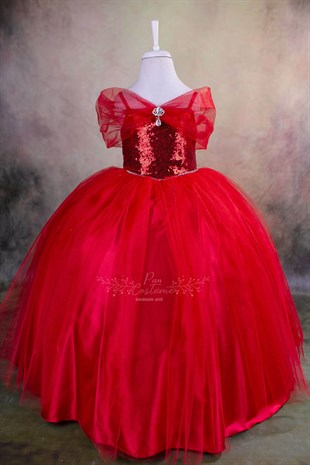 Red Party Gown For Girls