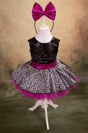 Pan Costume LoL Inspired Diva Dress Leopard Pattern Glittering Girls Costume