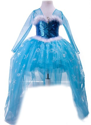 Frozen Elsa Outfit With Long Sleeves and Long Tail