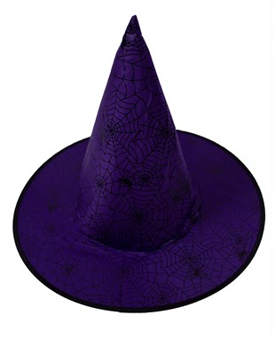 Spider Pattern Purple Witch Hat