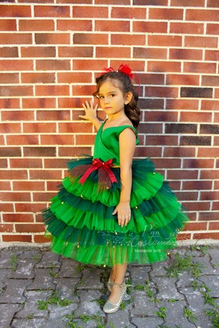 Pine Tree Kids Christmas Dress